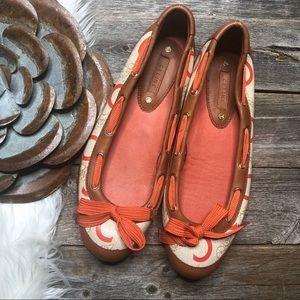 CELINE Ballet Flats 39 Leather Logo Bow